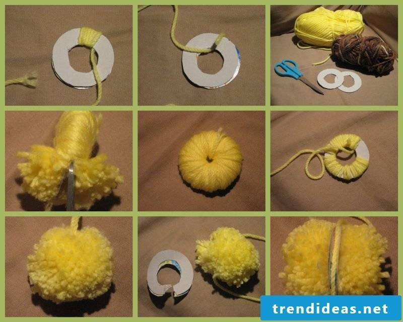 Tinker wool pompons: Instructions