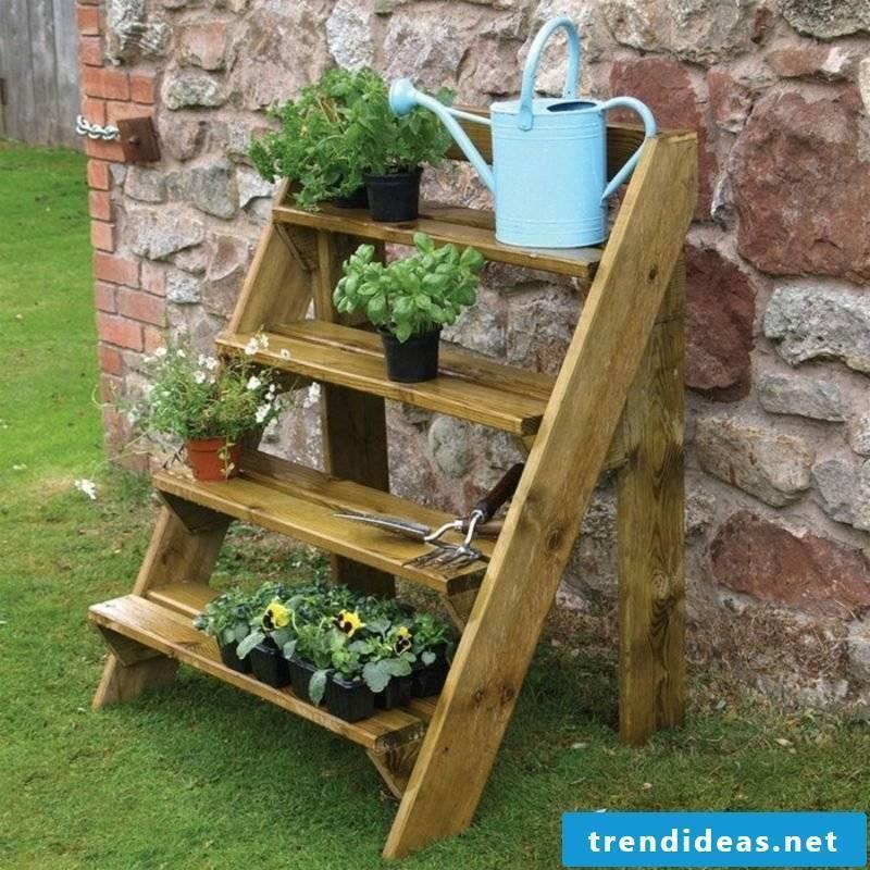Fancy garden decoration itself make wooden ladder