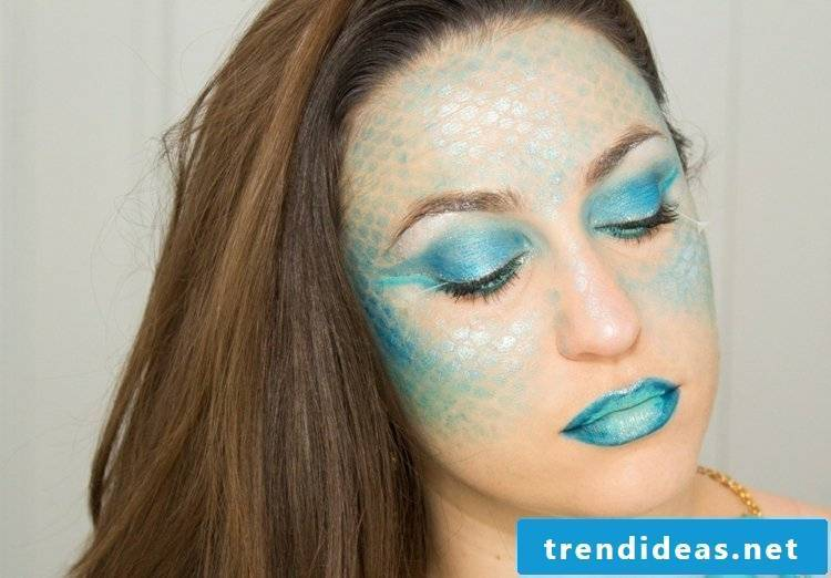 Face painting templates Halloween costume mermaid