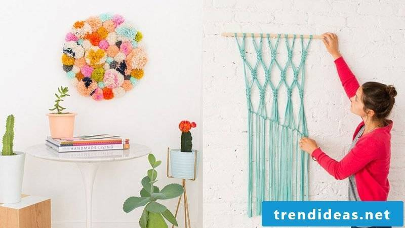 Wall decal self make DIY design with wool