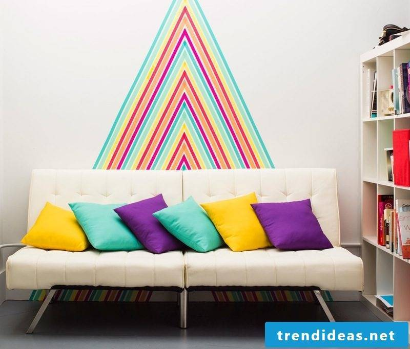 make walls washi tape DIY wall design make yourself living room ideas
