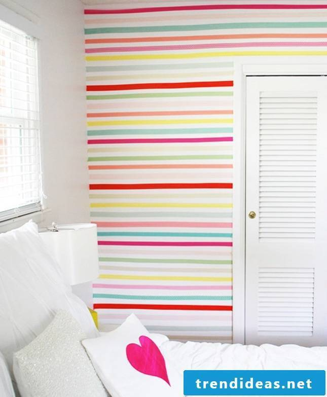 make walls washi tape DIY wall design yourself make bedroom ideas