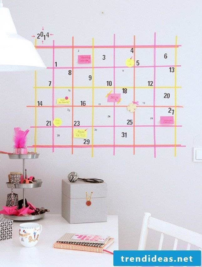 walls design ideas washi tape calendar wall design