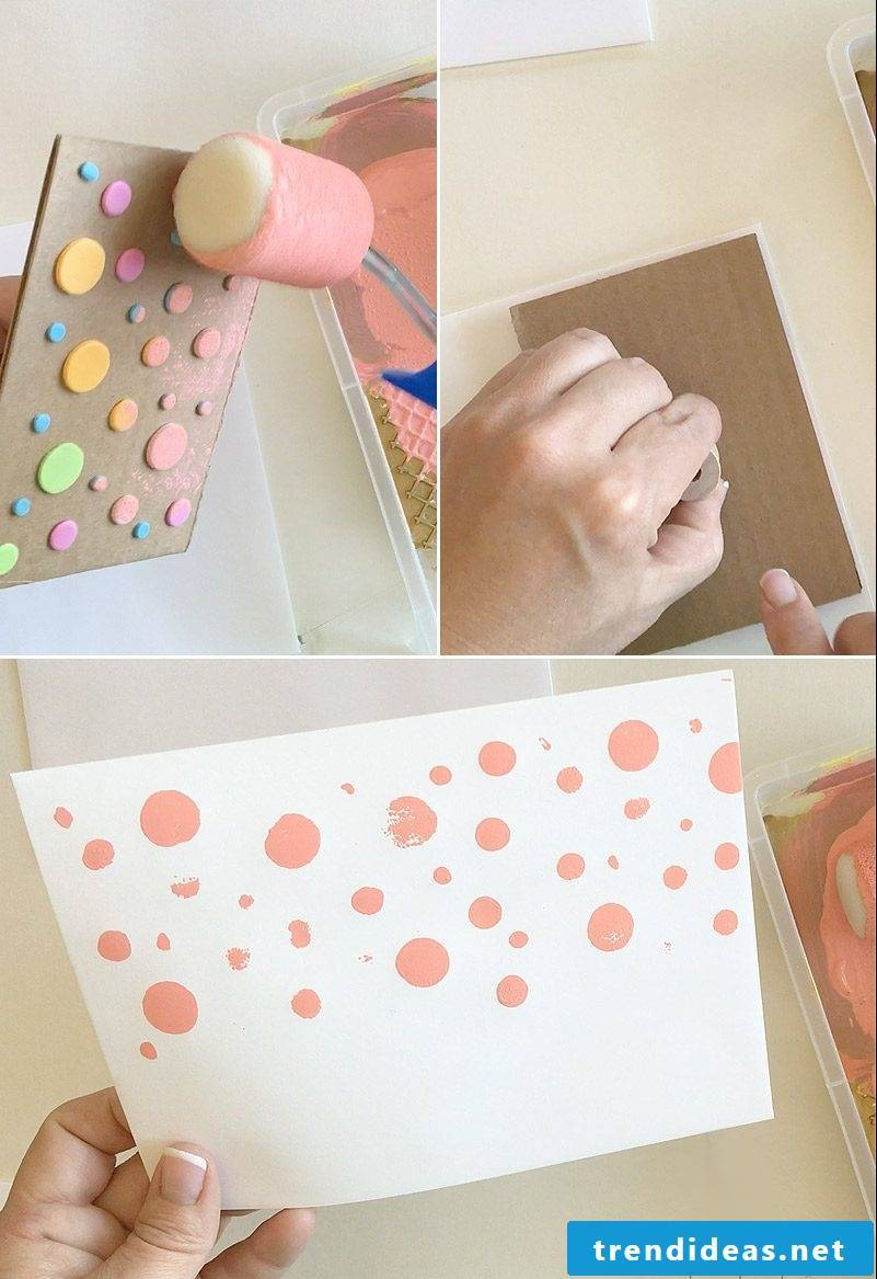Make an envelope and wedding card: make a dotted pattern
