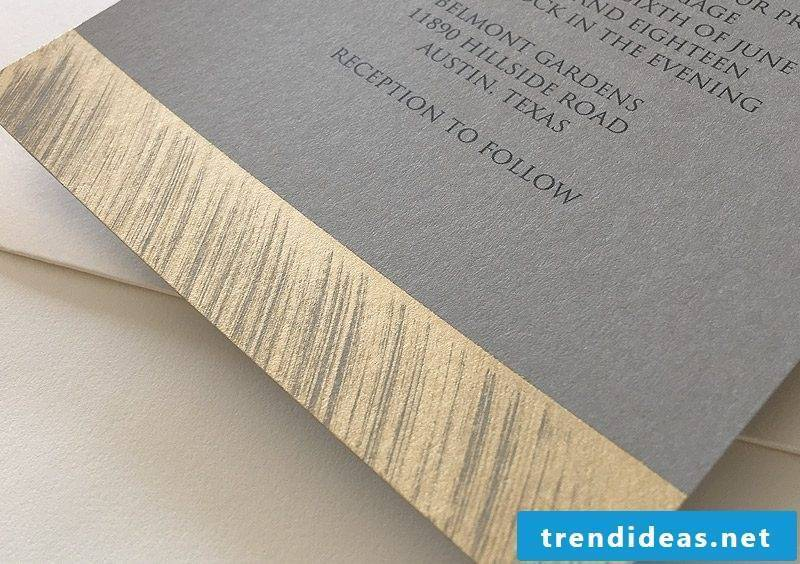 Fancy wedding invitations with a golden touch