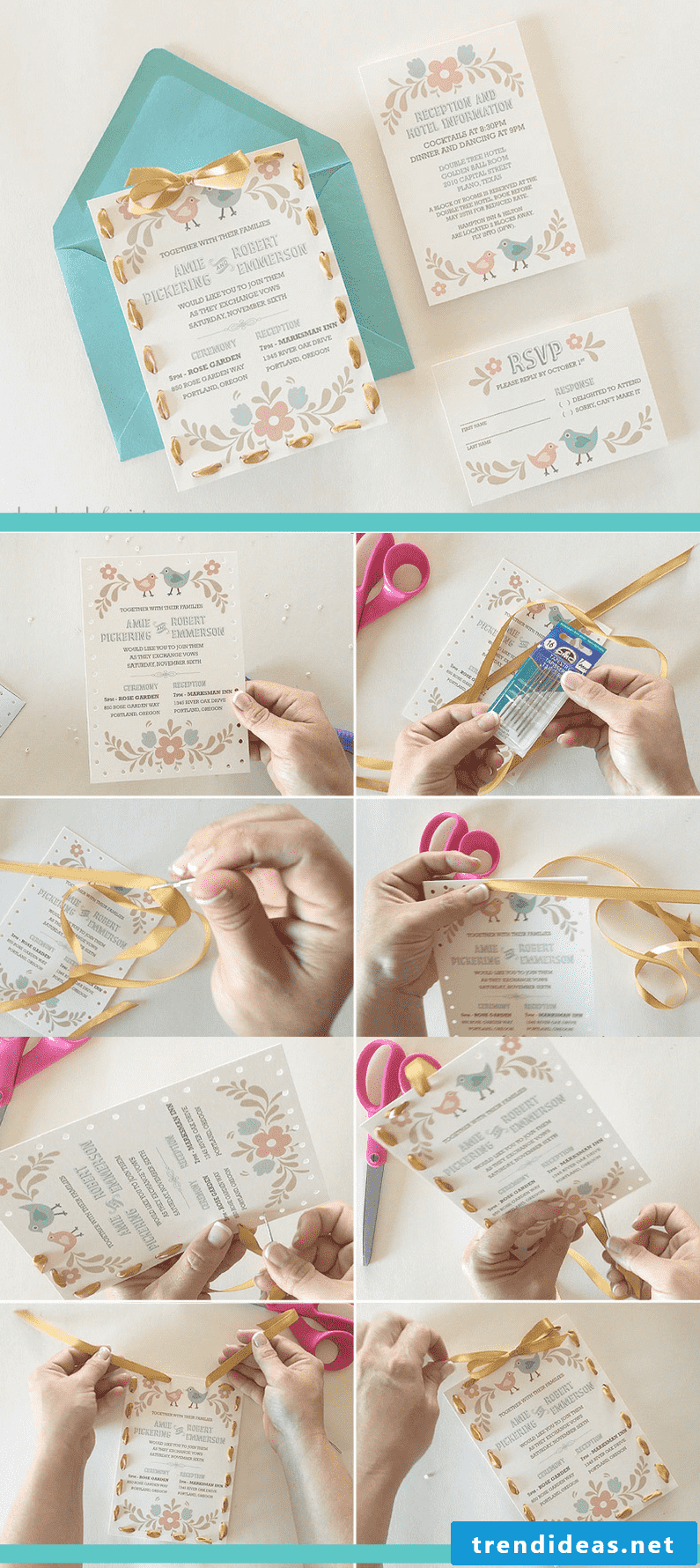 DIY idea for wedding card: Give the wedding card the finishing touch with a beautiful ribbon