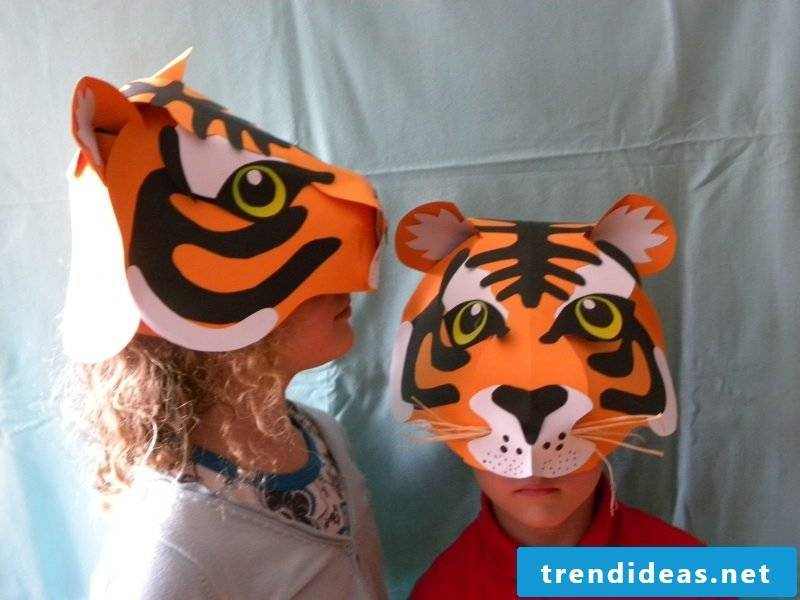 tiger animal masks tinker girl and boy