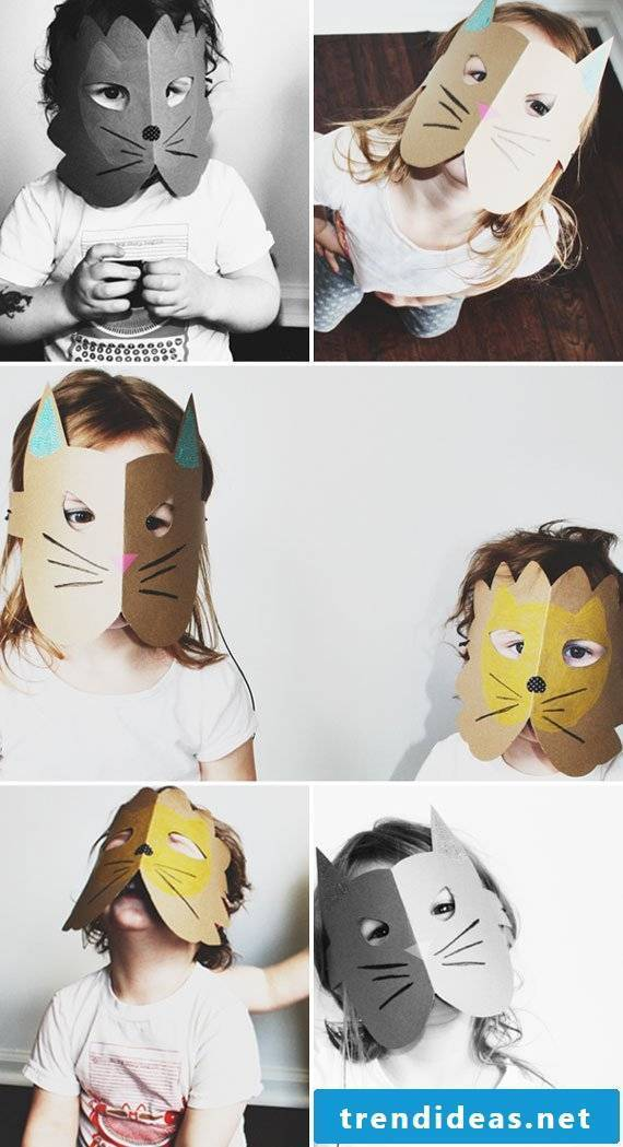 fancy animal masks make out of cardboard