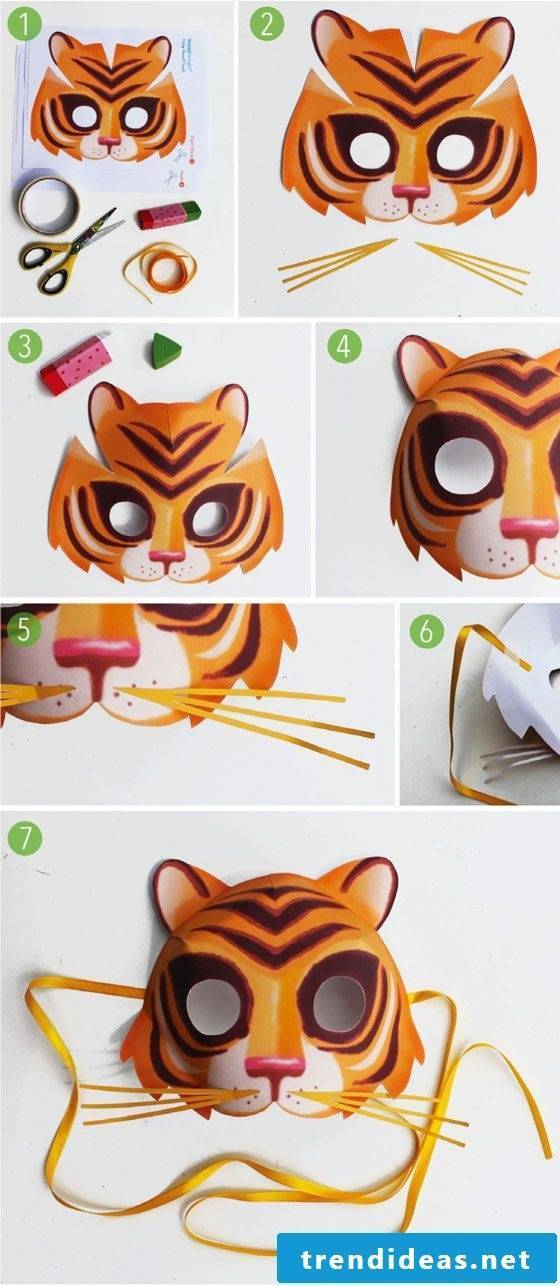 tiger animal masks tinker diy instruction easy