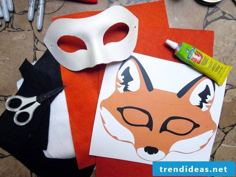 animal masks make necessary materials for it