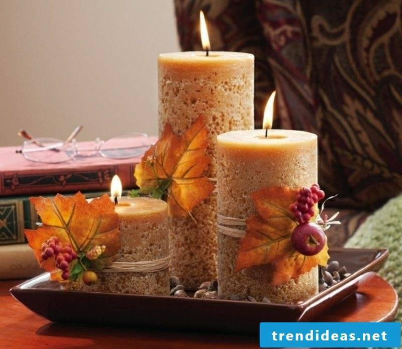 Autumn decoration table aroma candles