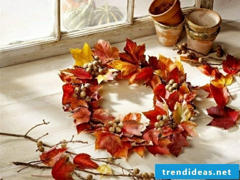 Autumn decoration beautiful wreath of autumn leaves