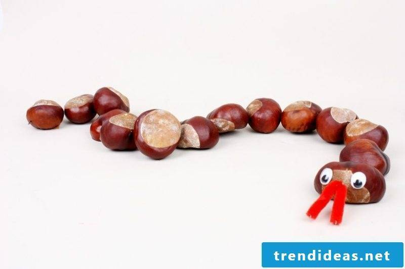 Christmas crafts with children. Snake made of chestnuts