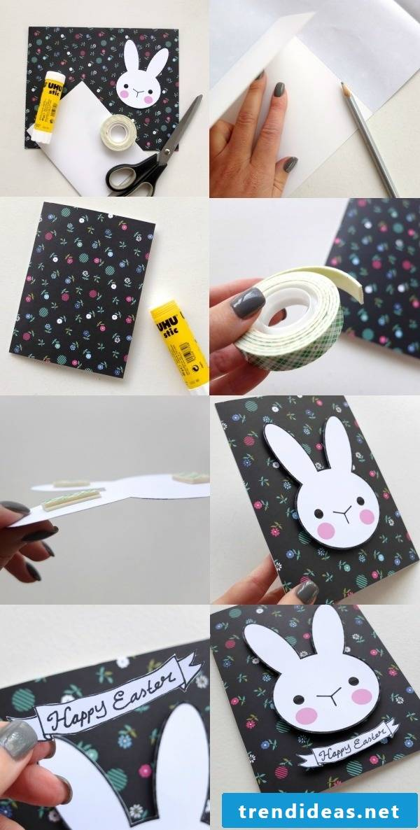 Easter cards print template for tinkering pasted on black clay paper