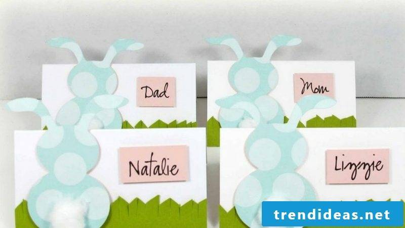make funny Easter bunnies place cards yourself
