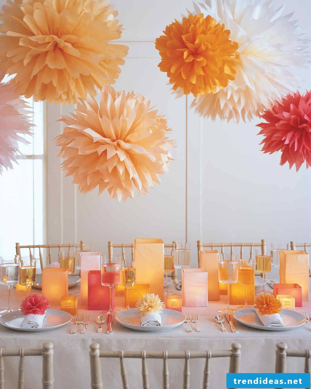 Making pompoms as a party decoration