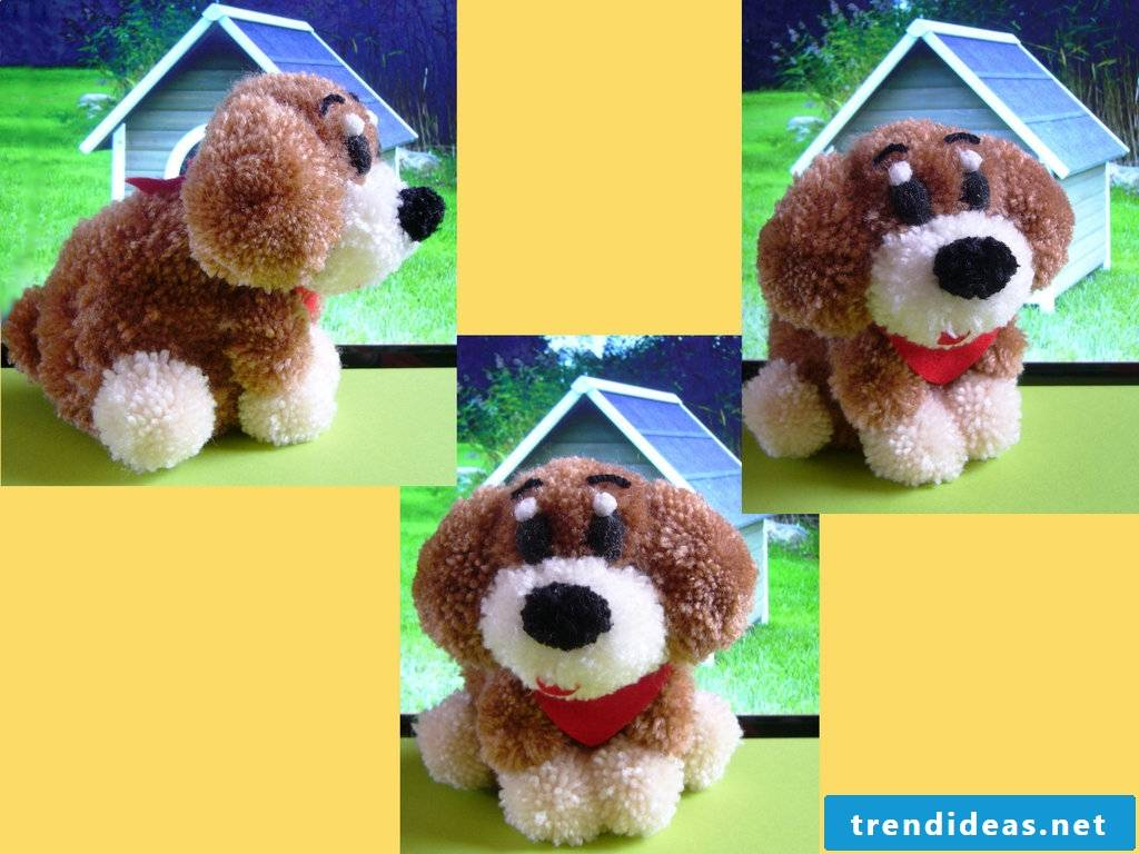 A pompom dog - great gift for kids