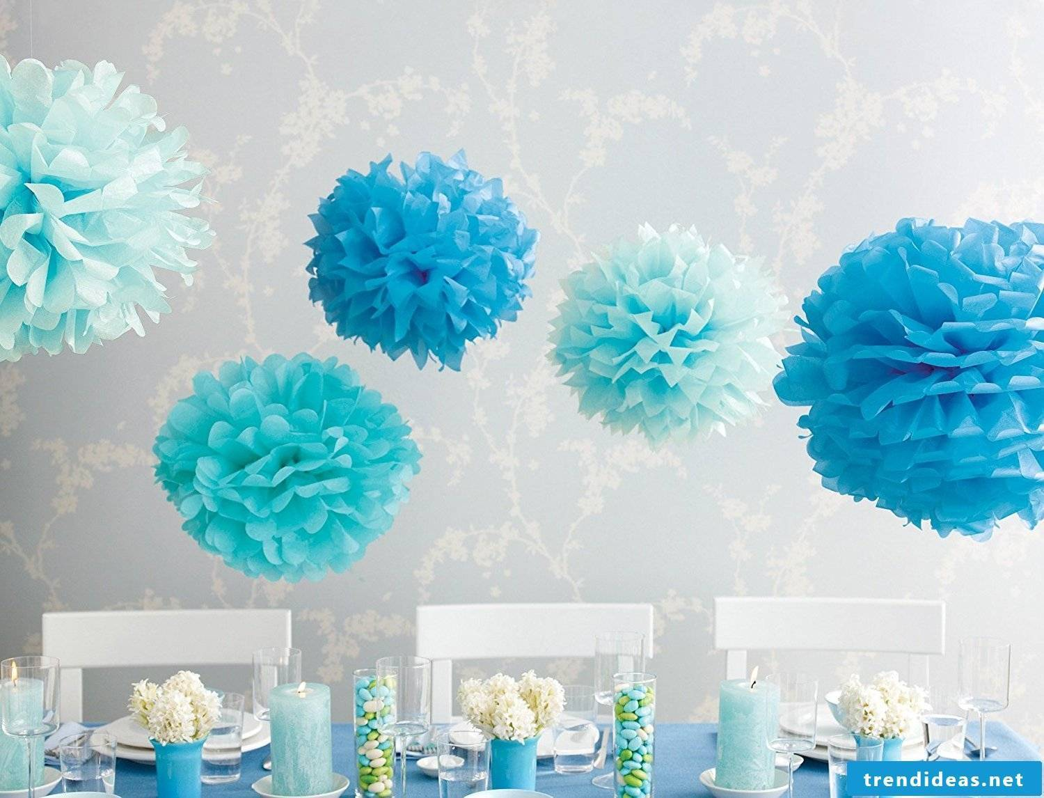 Pompoms craft-paper pompoms as decoration