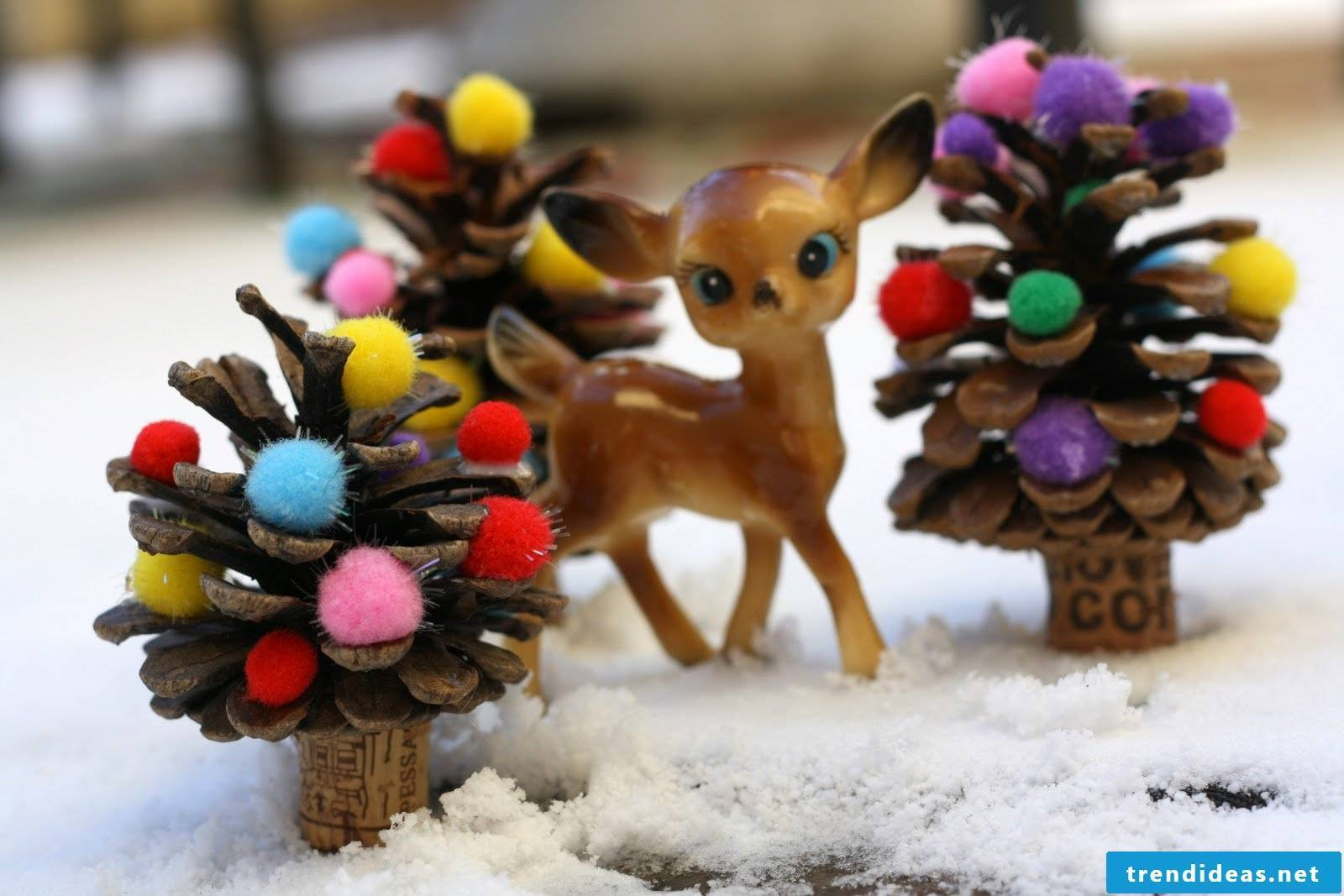 Bambi Christmas decoration with pompoms