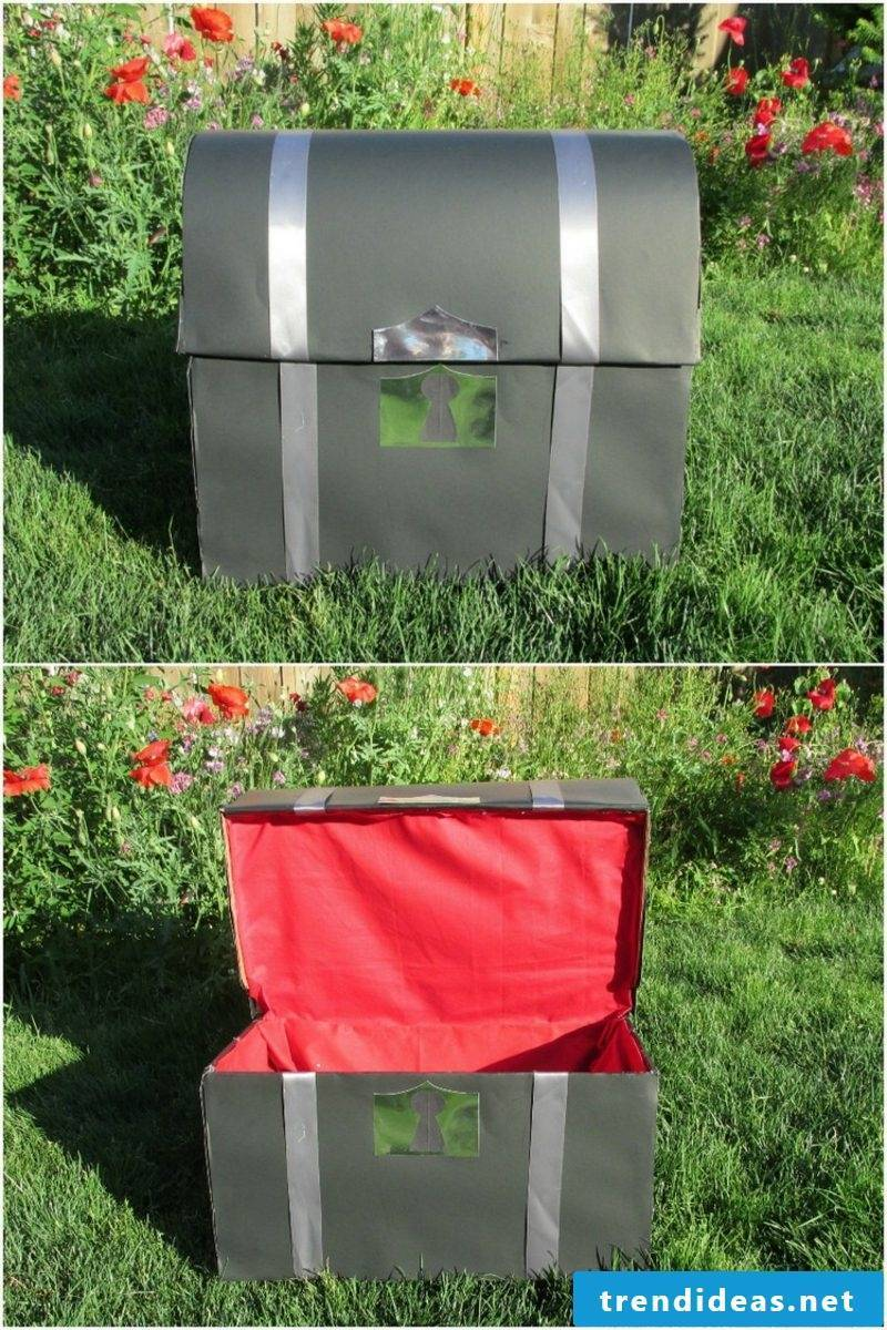 Treasure chest made from fabric and cardboard huge