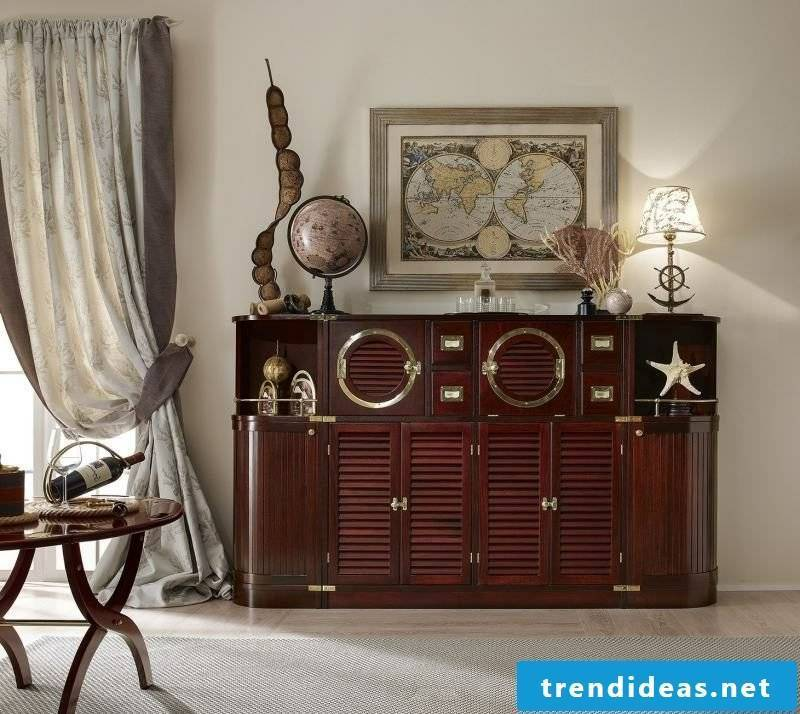 maritime furniture massive wooden chest of drawers