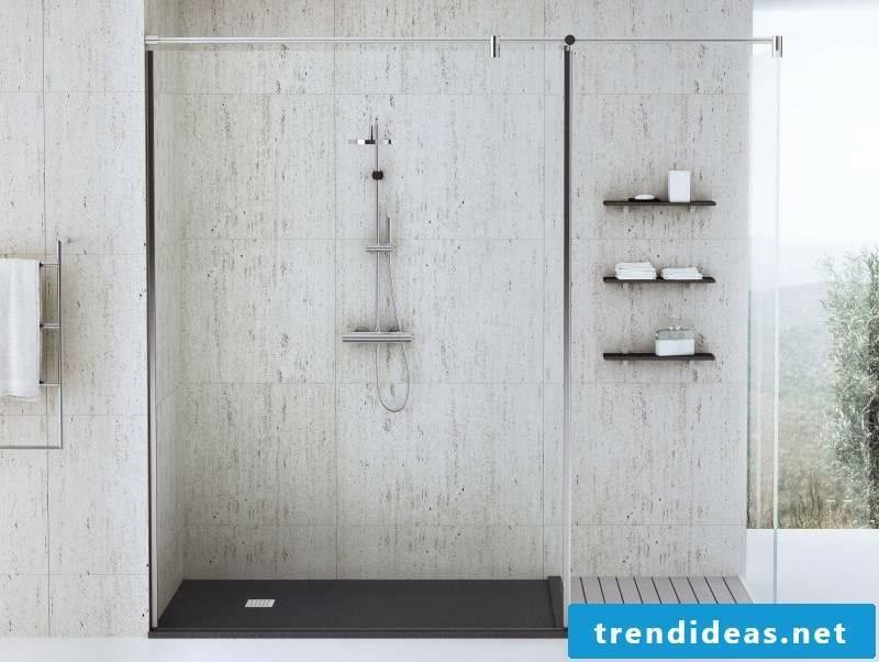 brick shower floor level
