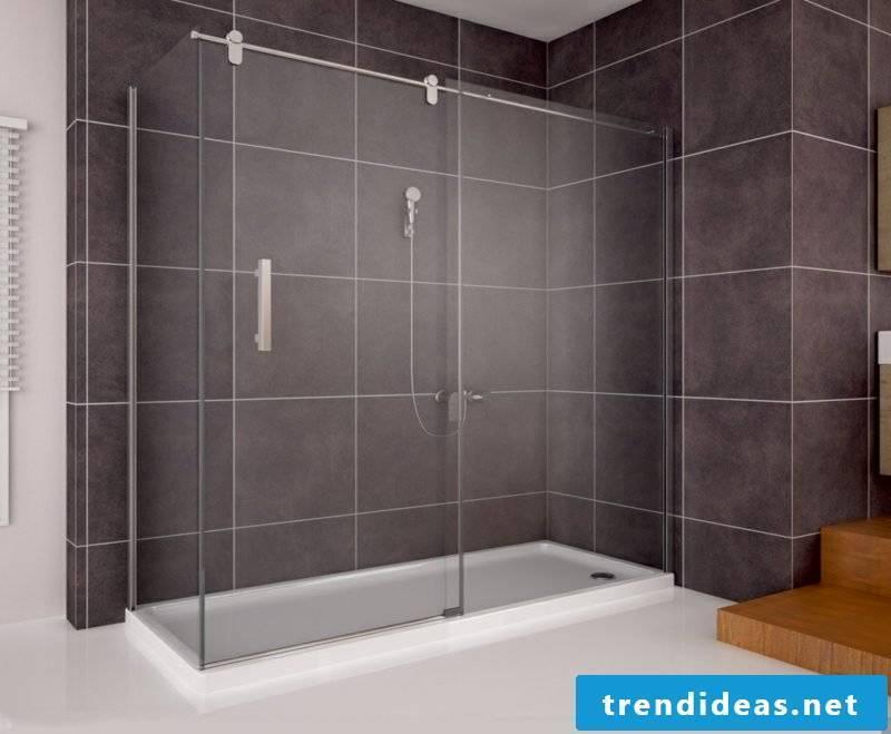 Bathroom with brick shower darker color scheme