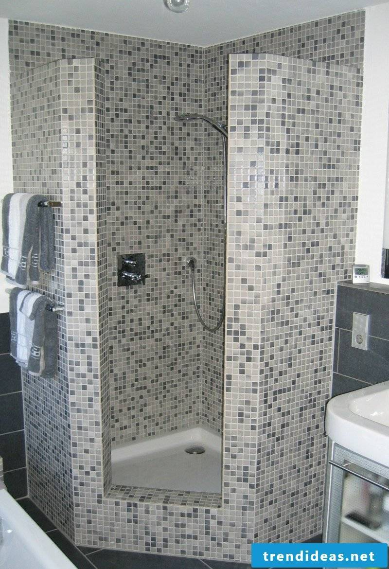 interesting shower cubicle mosaic tiles