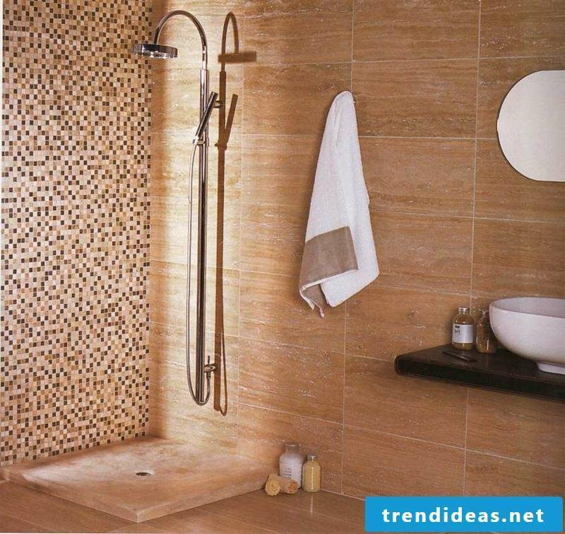 Bathroom mosaic tile accent wall stone walled shower