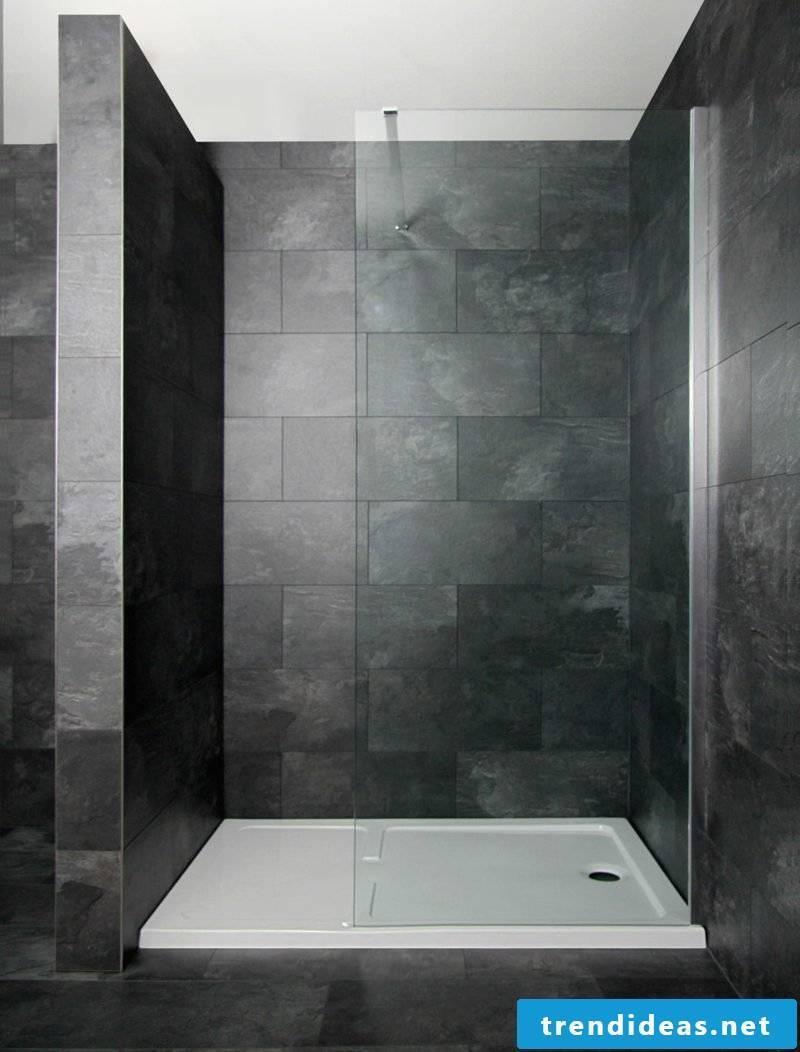 Shower cabin dark color design granite tiles