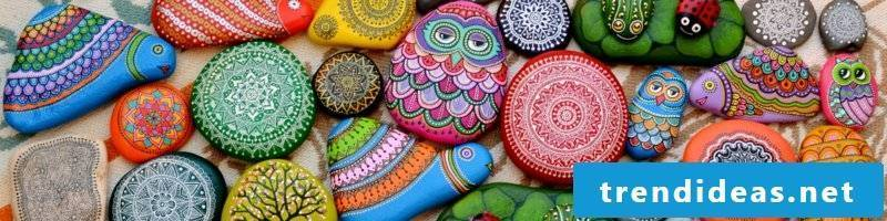 painted stones owl turtles and mandala