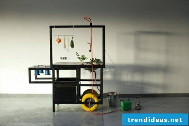 mobile kitchen in black modern look