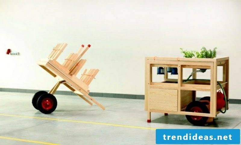 mobile kitchen made of two parts flexible