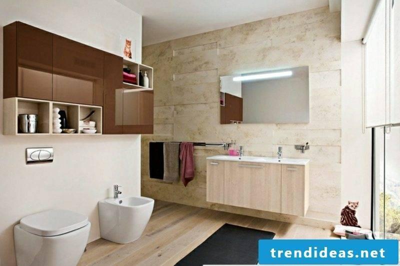 Bathroom modern wooden floor stone tiles