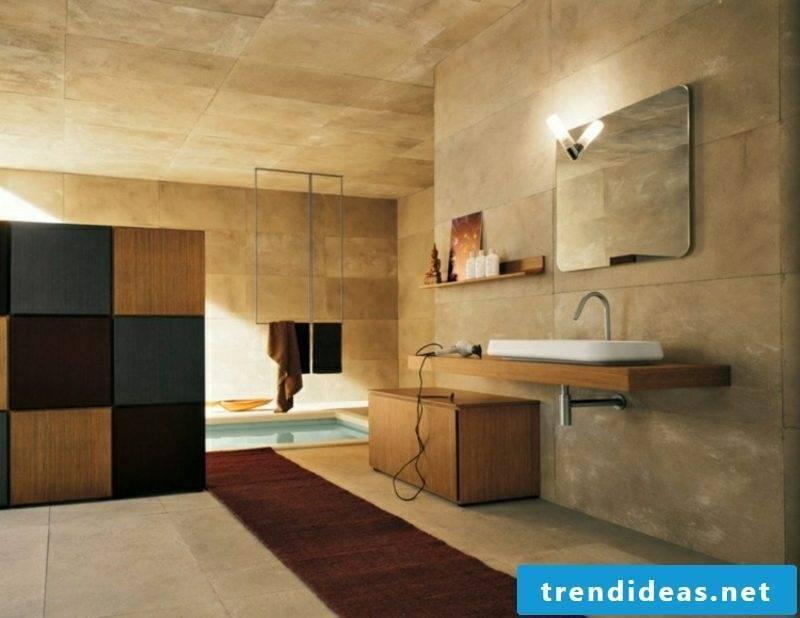 Bathroom design modern beige stone tiles