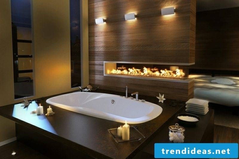 Luxury bathroom fireplace large bathtub