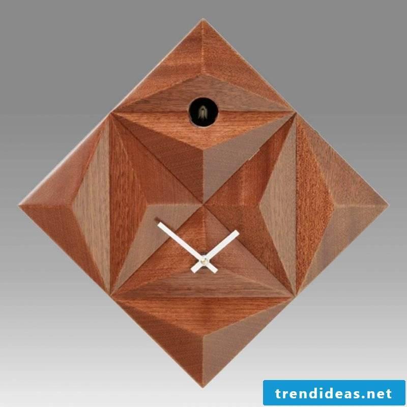 Stylish cuckoo clocks made of wood.