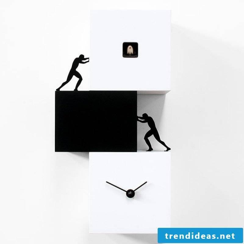 Black and white cuckoo clock