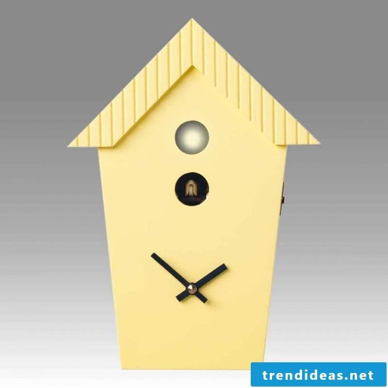 A yellow cuckoo clock