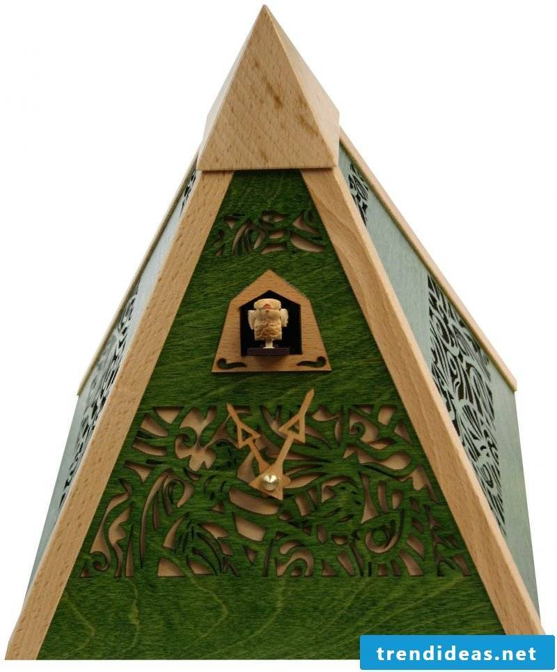 Cuckoo clock in the form of a pyramid.