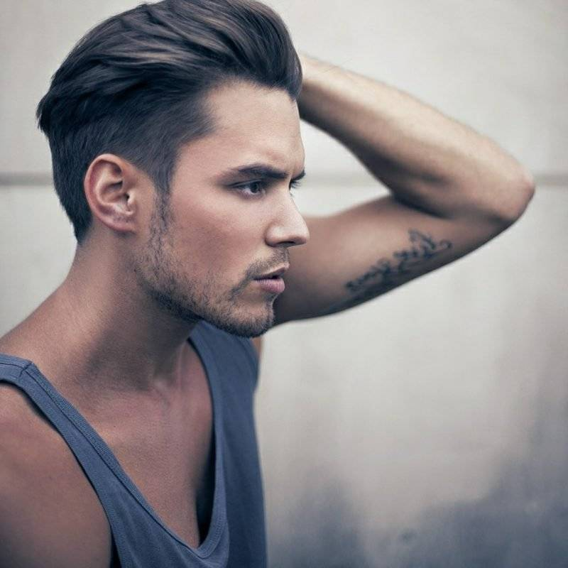 Men's hairstyles 2014 medium length hair, styled to the back