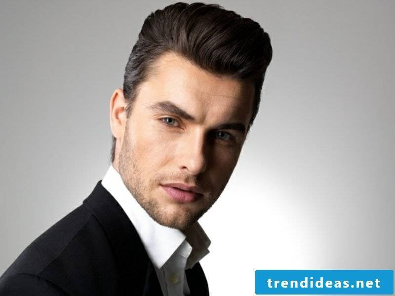 Stylish medium-long men's hairstyle styled to the rear