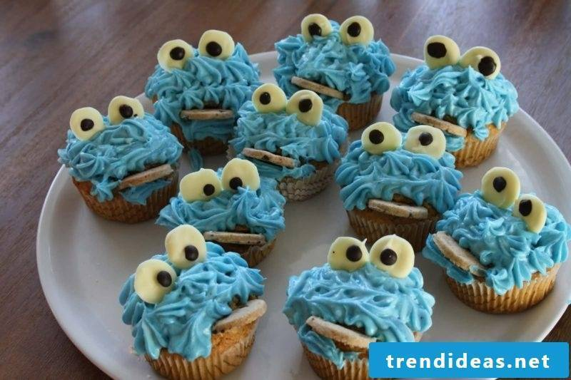 Muffins for the kids birthday Cookie Monster