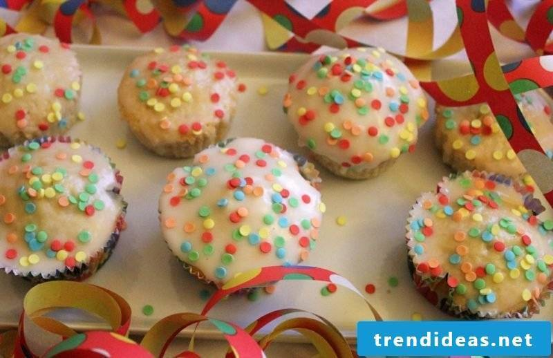 Child birthday muffins with frosting