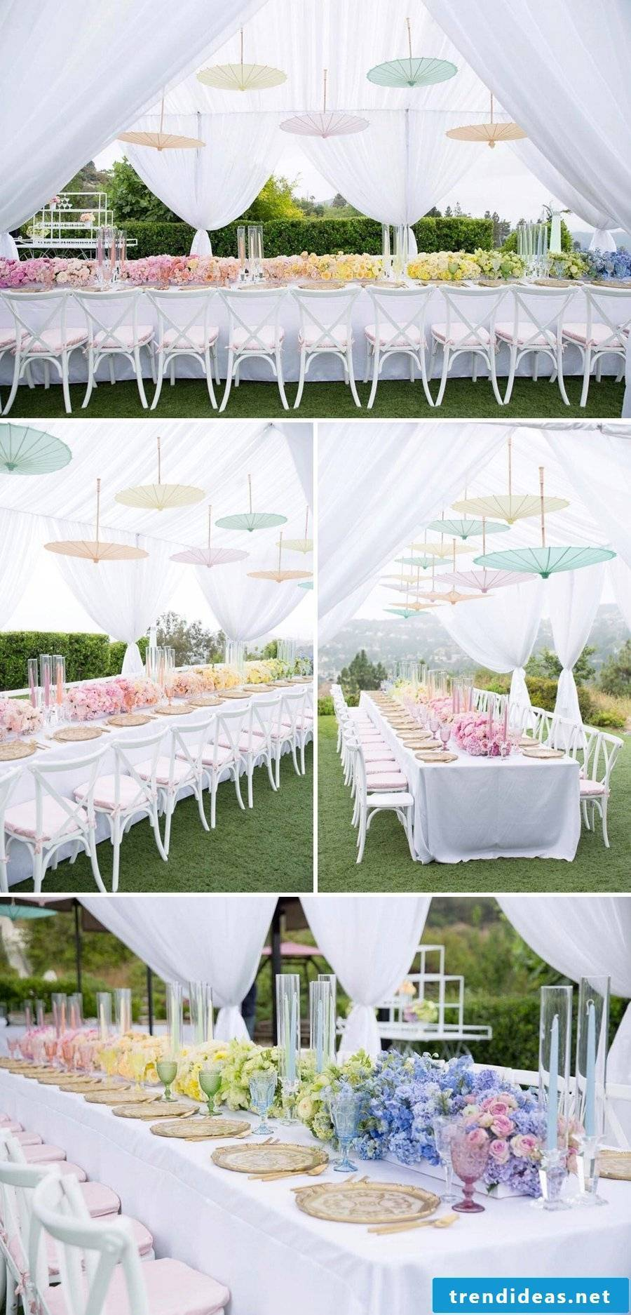 An ombre effect in pastel colors - a creative and beautiful idea for your wedding day decoration