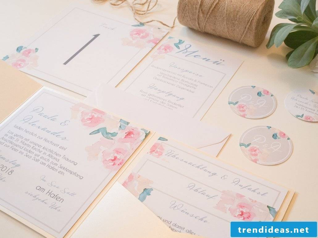 The pastel colors are the best idea for the wedding invitations
