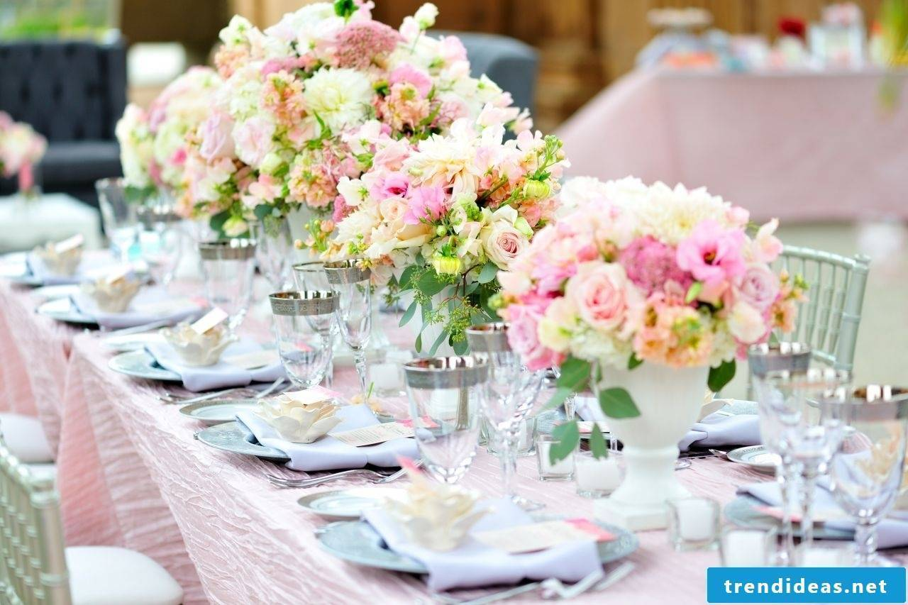 Trendy wedding decoration in pastel colors