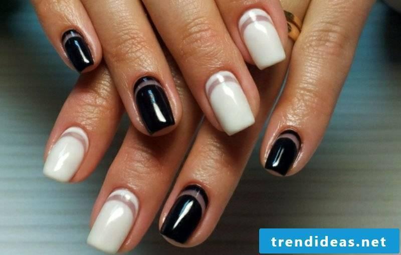 modern nail art design winter 2016 black and white decorative stripes