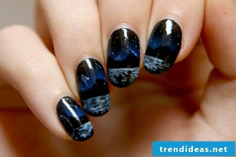 Fingernails dark color design modern motifs landscape