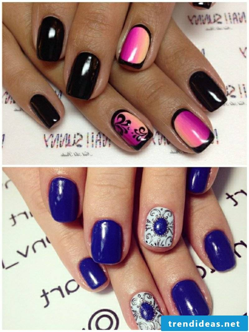 Nail art trends blue and violet